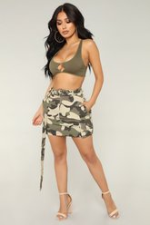Jupe Survivor Camo - Olive Clair - Fashion Nova
