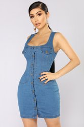 Denim Darlyn Mini Dress - Medium - Fashion Nova